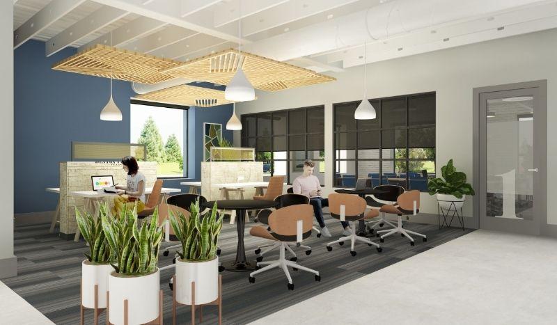 Interior Workspace Rendering at Caddo Flower Mound